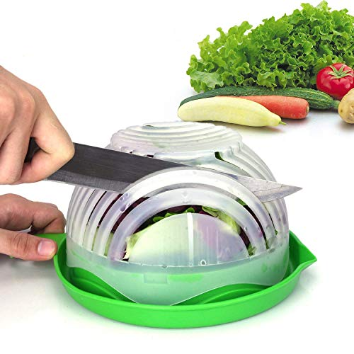 Cut Fresh Fruits - Salad Cutter Bowl Upgraded Easy Salad Maker by WEBSUN, Fast Fruit Vegetable Salad Chopper Bowl Fresh Salad Slicer FDA-Approved