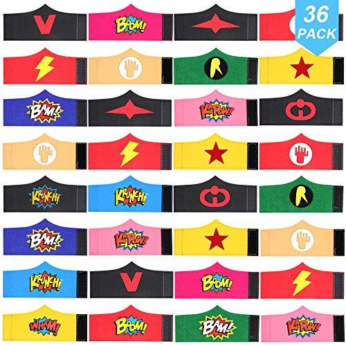 POKONBOY 36 Pack Superhero Bracelets Party Favors for Kids, Superhero Birthday Party Favors Avengers Party Supplies Super Hero Carnival Prizes for Kids Boys Girls Adults (Random)