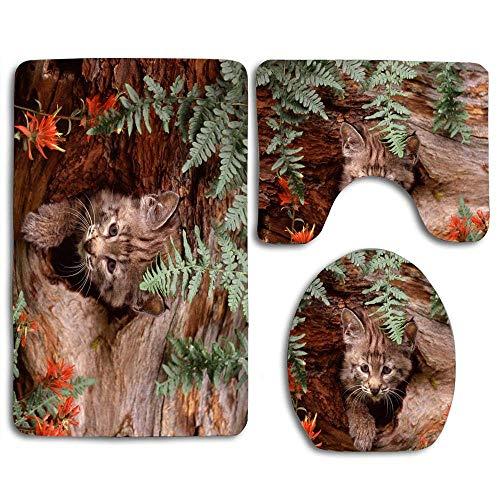 YGUII Bobcat Kitten Baby Animals Bathroom Rugs Set 3 Piece, Soft Non-Slip Bath Mat U-Shaped & Round Toilet Floor Rug Mats for Tub Shower Rugs
