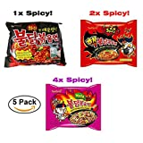Samyang Hek Buldak Spicy Roasted Chicken Ramen Variety 5 Pack Hot Spicy Fire Noodle Spicy Challenge Combo
