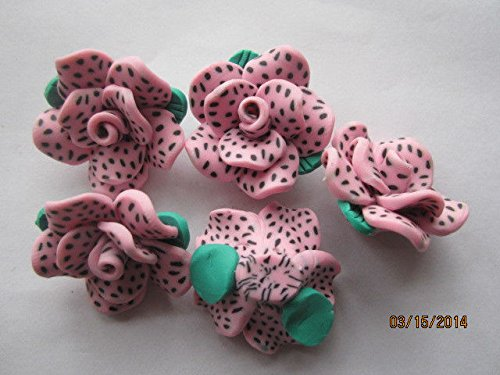 k Poka Dots Fimo Poly Clay Rose Flower Beads for Jewelry Making, Supply for DIY Beading Projects 35mm 5pc ()