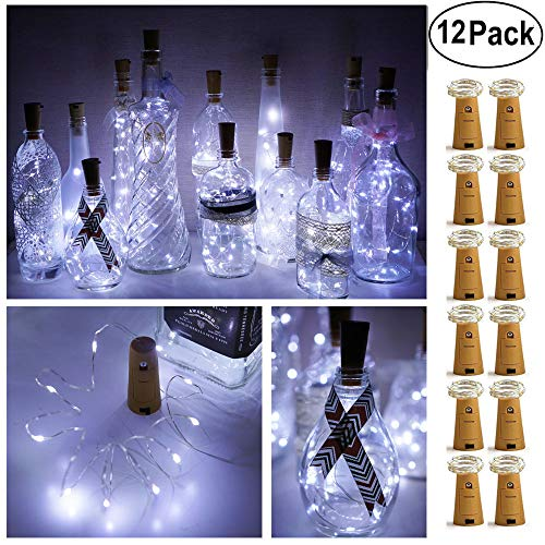 Decem Wine Bottle Lights with Cork 12 Pcs 15 LEDs Warm White Cork Shape Silver Copper Wire Battery Powered LED Fairy String Lights for DIY/Decor/Party/Wedding/Christmas/Halloween (Cool White)