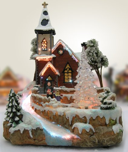 Christmas Snow Village Fiber Optic Church Chapel Winter Collectible by Banberry Designs (Image #5)
