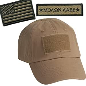 Operator Cap Bundle w/USA & Molon Labe Patches (Tan)