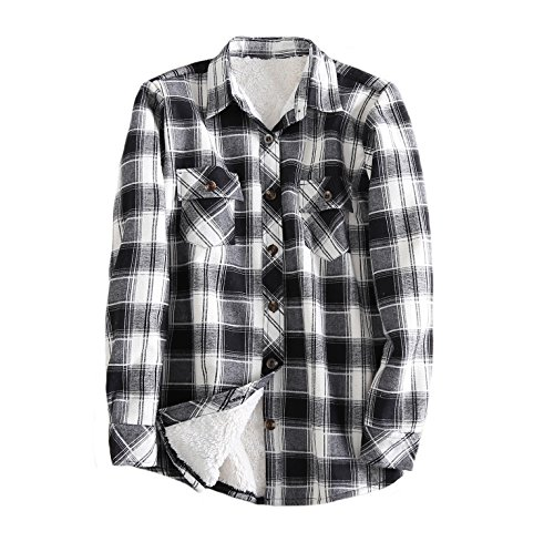 - Tortor 1Bacha Women's Sherpa Lined Winter Flannel Plaid Shirt Jacket Black Beige 12