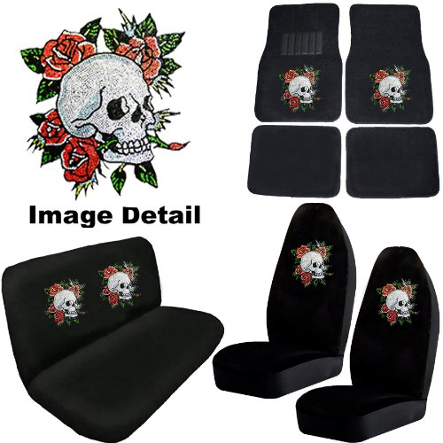 White Crystal Happy Skull w/ Red Roses Gem Crystals Studded Rhinestone Car Truck Seat Covers Mats Bench 8 Piece Combo Kit
