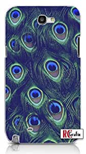 Sassy Colorful Peacock Feathers Skin Unique Quality Hard Snap On Case for Samsung Galaxy Note 2 Note II N7100 (WHITE)