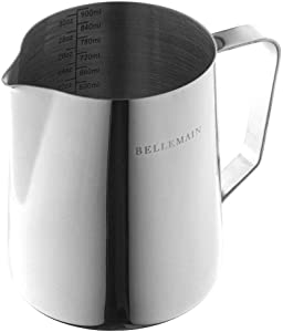 Stainless Steel Frothing Pitcher, Measuring Cup, and Serving Jug by Bellemain—Ideal for Cappuccinos and Latte Art, 32 oz./946 ml