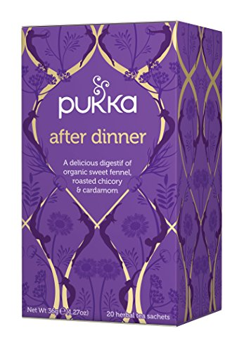 Pucka After Dinner, Organic and Caffeine Free Herbal Tea, 20 individually wrapped Tea Bags, 6 Count