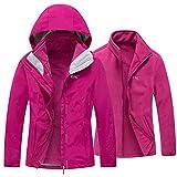Diamond Candy Women's 3 in 1 Winter Jackets with Hood Waterproof Rain Coat Softshell Warm Jacket for Ski Hiking