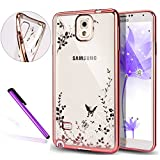 Note 4 Cover Samsung Galaxy Note 4 Cover ,EMAXELER Bling Swarovski Crystal Rhinestone Diamond Plating Frame Flexible TPU Cover for Samsung Galaxy Note 4 Butterfly & White flowers[Rose]