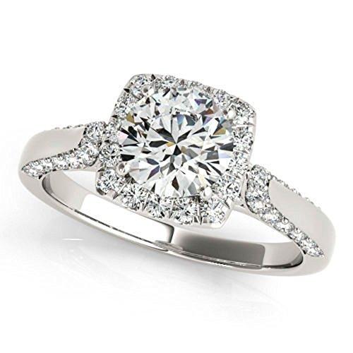 Allure 0.97 ct J-K Moissanite Engagement wedding Ring 925 Sterling Silver by MoissaniteMart