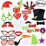 Tinksky Christmas Party Photo Booth Props Creative Posing Props Christmas Trees Hats Glasses Mustache Kit for Party Decoration 28-pack