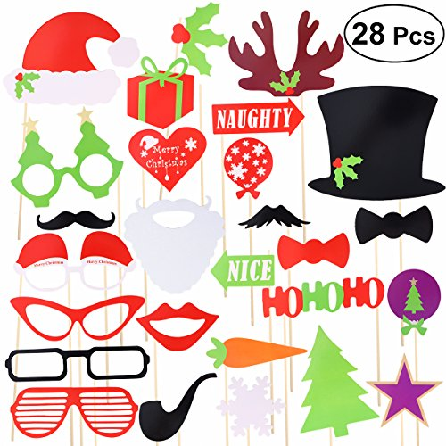 Tinksky Christmas Party Photo Booth Props Creative Posing Props Christmas Trees Hats Glasses Mustache Kit for Party Decoration (Tree Props)