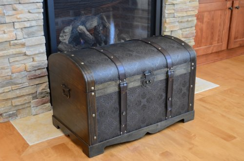 Round Top Large Victorian Steamer Trunk Wooden Treasure Hope Chest - Victorian Hope Chest
