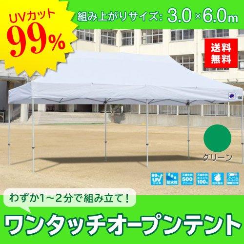 E-ZUP イージーアップ イージーアップテント 組み立てテント デラックス(アルミタイプ) [DXA60-17GR] 3.0m×6.0m 天幕色:緑 グリーン 防水 防炎 紫外線カット99% B07BT39D1Q