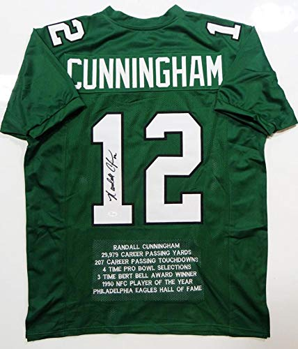 wholesale dealer 5da7f 13cad Randall Cunningham Autographed Green Pro Style STAT Jersey ...