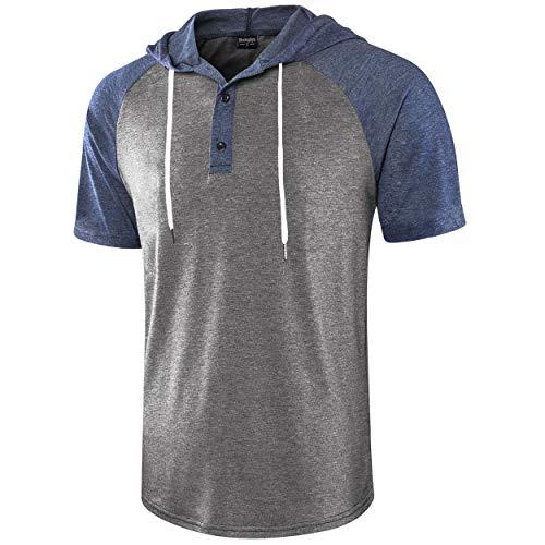 Moomphya Men's Jacquard Knitted Casual Short Sleeve Raglan Henley Jersey Hoodie T Shirt (A1 DarkBlue/Darkgrey SL, XX-Large)