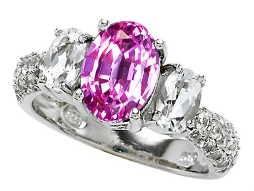 Star K 9x7mm Oval Created Pink Sapphire Ring Sterling Silver Size 8 (Pink Sapphire Ring Star)