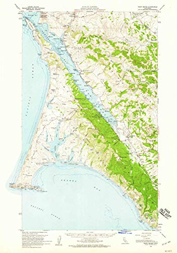 YellowMaps Point Reyes CA topo map, 1:62500 Scale, 15 X 15 Minute, Historical, 1954, Updated 1959, 25.7 x 18 in - Tyvek