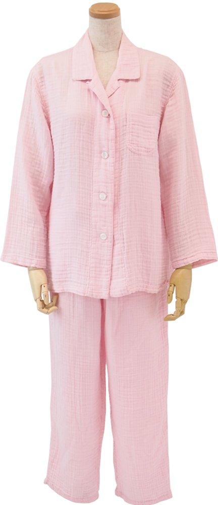 (内野)UCHINO(ウチノ) クレープガーゼレディスパジャマ L 着丈:68cm、身巾:55cm、裄丈:75cm、パンツウエスト(ゴム上り):76cm、パンツ丈:96cm B01822MI7U ピンク ピンク