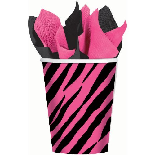 Oh So Fabulous Pink Zebra Cups by Shindigz