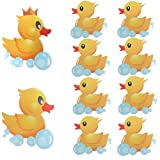 MIA GENOVIA Bathtub Non Slip Stickers Yellow Duck Family Swimming Ducky Anti Slip Stickers Kids Bathroom Safety Decal Set (Pack of 10)