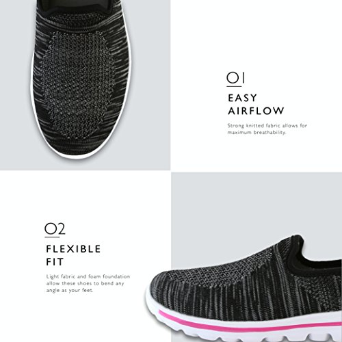 Black Walking Sneakers Mesh Dailyshoes Fuchsia Memory on Slip Foam Women's Shoes wZx8q4xT