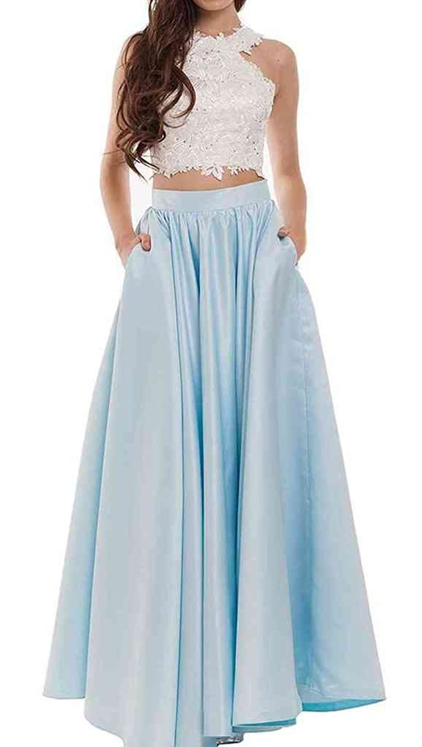 Amazon.com: Fanmu Two Piece Satin Long Prom Dresses Evening Gowns ...