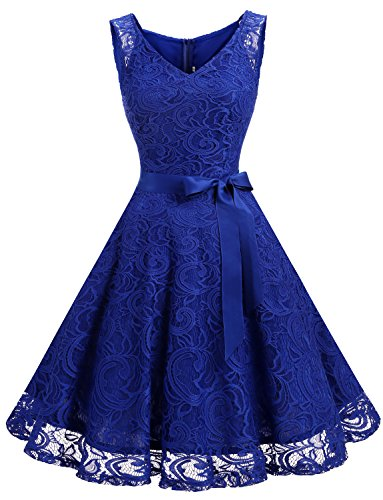 Dressystar DS0010 Women Floral Lace Bridesmaid Party Dress Short Prom Dress V Neck S Royal Blue