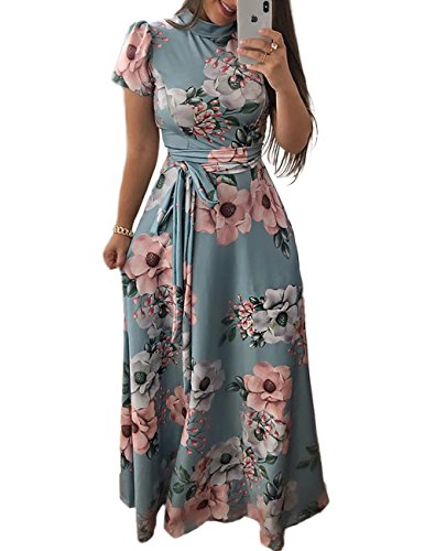 Print Tie Waist Dress - Ivrose Womens Short Sleeves Floral Maxi Dress Lake Blue S