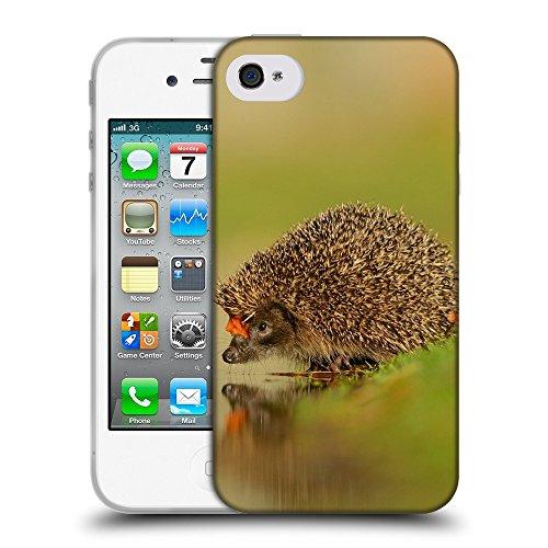 Just Phone Cases Coque de Protection TPU Silicone Case pour // V00004141 hérisson boit de l'eau // Apple iPhone 4 4S 4G