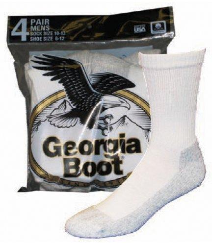 Georgia Cotton Crew Socks (4-Pack), White, Large by Georgia