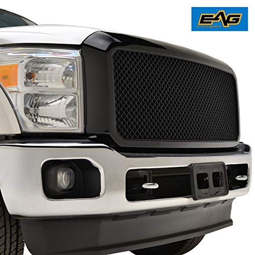 EAG Mesh Front Hood Grille ABS Replacement Upper Full Grill Fit for 11-16 Ford F250/F350 Super Duty