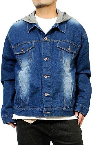 Gジャン メンズ 大きいサイズ ストレッチ フード付き デニムジャケット ジージャン