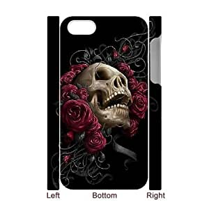 3D Bloomingbluerose SKULL and Rose Cases for IPhone 4/4s, with White
