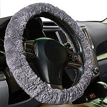 Zone Tech Plush Genuine Sheepskin Stretch- On Vehicle Steering Wheel Cover Gray Car Wheel Protector