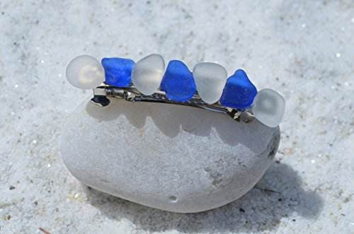 Genuine Cobalt Blue and Frosted Sea Glass French Barrette Hair ()