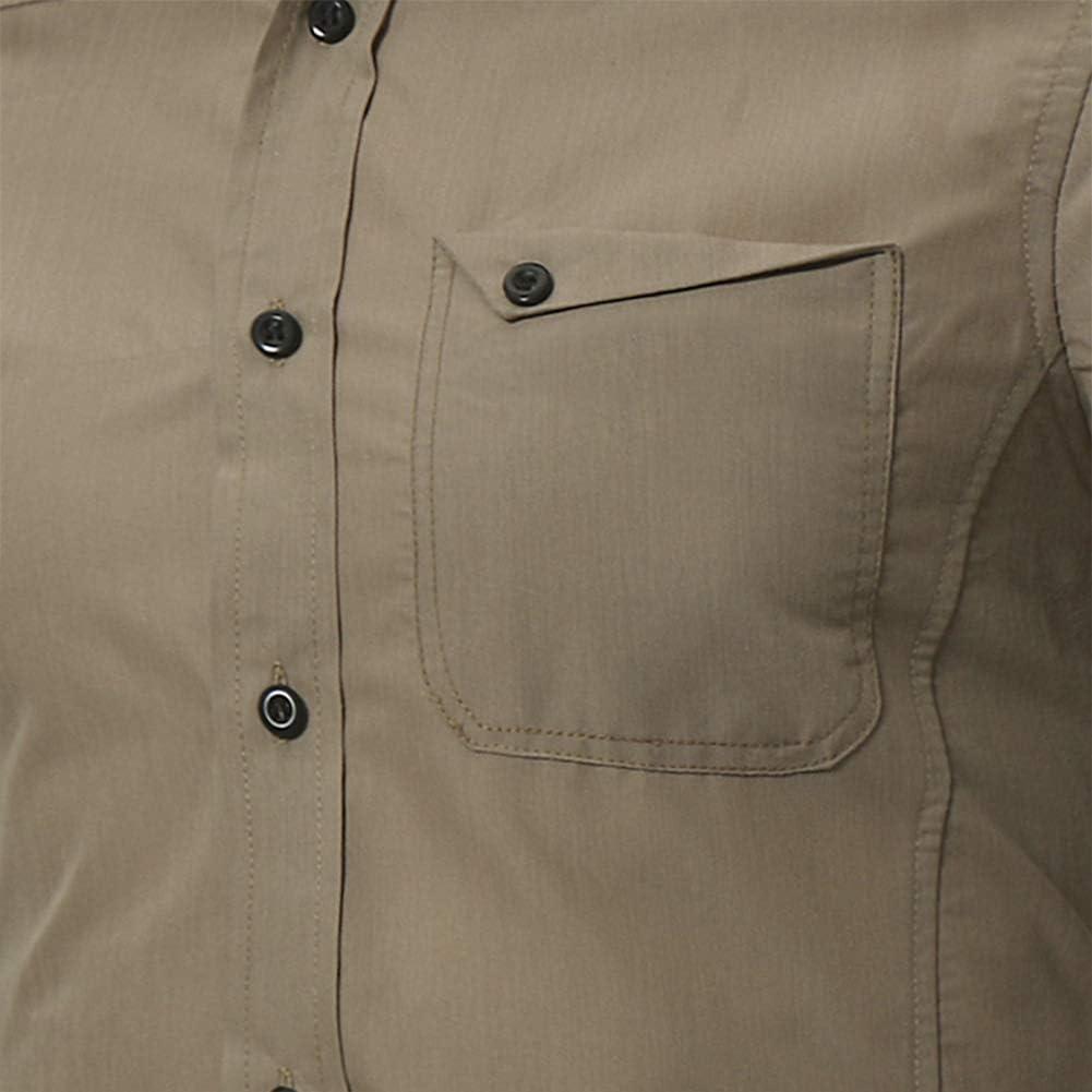 DSstyles Men Slim Fit Single Pocket Long Sleeve Casual Shirt