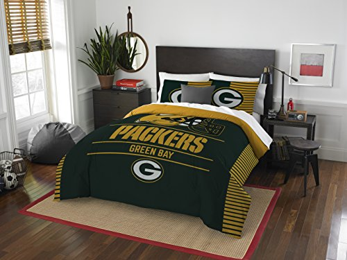 NFL Green Bay Packers Draft Two Sham Set, Dark Green, Full/Queen - Green Bay Packers Sheet Set