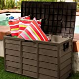 Outdoor Patio Deck Box All Weather Large Storage Cabinet Container, Beige/Green 60 Gallon Plastic Deck Box & E-Book