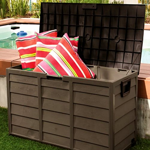Outdoor Patio Deck Box All Weather Large Storage Cabinet Container, Beige/Green 60 Gallon Plastic Deck Box & E-Book by Outdoor