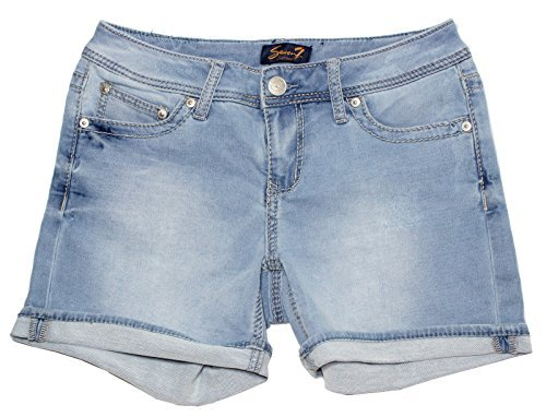 Seven7 Women's Cuffed 5 inch Denim Short with Embroidered E Loop Pockets (12, Powell Blu)