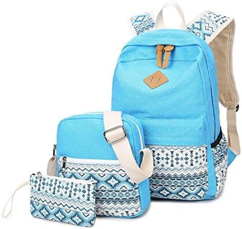 Hippolo - Juego de 3 mochilas de lona casual + bolso de hombro + bolso/ estuche para lápices, mochila para niños y adolescentes, para hombre y mujer azul Himmel Blau large: Amazon.es: Productos