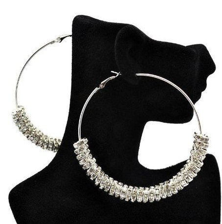 Basketball Wives Inspired POParazzi Rhinestone Ring Silver Hoops Earrings(WP-G-79)