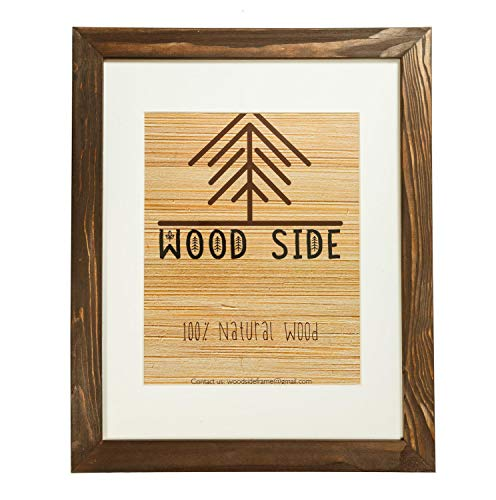 Rustic Wooden Picture Frame 11x14 Inch with White Mat for 8x10 Photos - 100% Natural Eco Wood for Wall Hanging Photo Frame - Brown Wenge