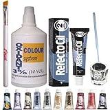 KITLAS Cosmetics Eyelash Eyebrow Tint Dye Kit: Refectocil Tint, Glass Dish, Tinting Brush, Oxidant 100Ml 3% (No.2 Blue Black)