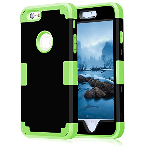 iPhone 6 Case 4.7, iPhone 6 Cases Hard Cover Shell TPU Rubber 2 Piece Ultra Slim Thin Bumper Covers Apple iPhone 6S Case Durable Protective Design Hybrid Defender Heavy Duty Shockproof (Black Green)