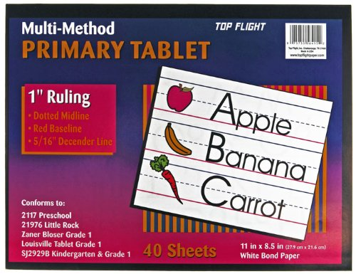 Top Flight Multi-Method 1st Grade Primary Tablet, 1 Inch Ruling, Bond Paper, 11 x 8.5 Inches, 40 Sheets - Kinds Letter Writing