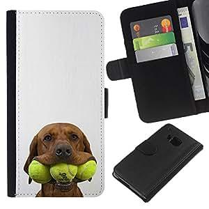 Tennis Golden Retriever Pet Dog - la tarjeta de Crédito Slots PU Funda de cuero Monedero caso cubierta de piel HTC One M9